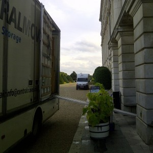 unloading at Hampton court Palace
