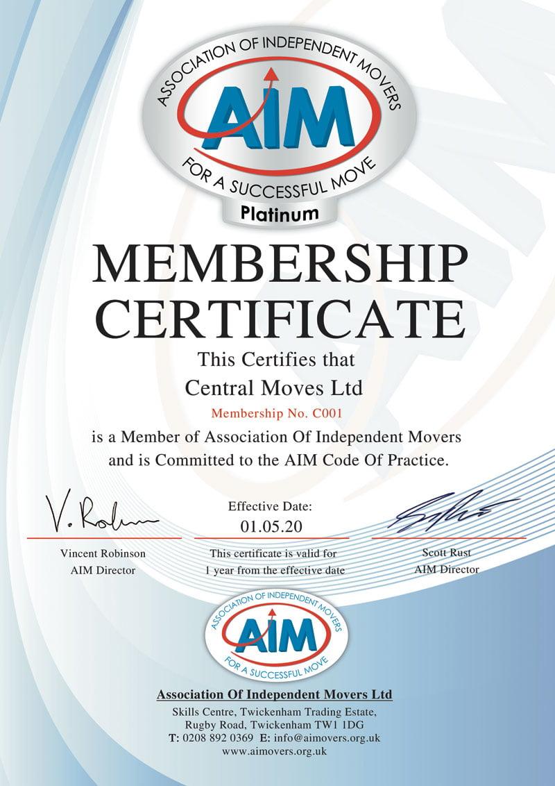Aim-certificate-Platinum